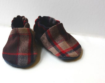 6 to 12 months Soft Soled Leather Shoes, Navy Plaid Wool Upper with leather Soles, Crib Shoes, Leather Shoes, Plaid