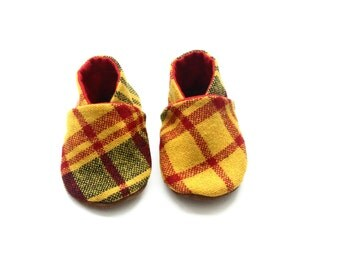 0 to 6 months Soft Soled Leather Shoes, Yellow Wool Upper with leather Soles, Crib Shoes, Leather Shoes, Plaid shoes