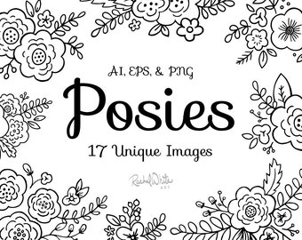 Posies, Flower Bouquets Vector Illustrations - AI EPS and PNG - 34 Images - Instant Download