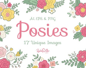 Colorful Posies, Flower Bouquets Vector Illustrations - AI EPS and PNG - 34 Images - Instant Download