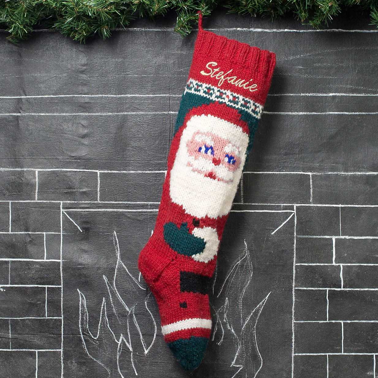 Personalized Knit Christmas Stocking / Kris Kringle Santa