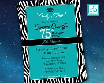 75th Birthday Invitation, Zebra Invitations, Let's Celebrate Invitation, Zebra Party, Zebra Print Invitation - Digital Printables