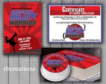 Ninja Warrior Party Package, Ninja Warrior Invitation, ANW Birthday Party, Ninja Warrior Party Package, Digital Printables