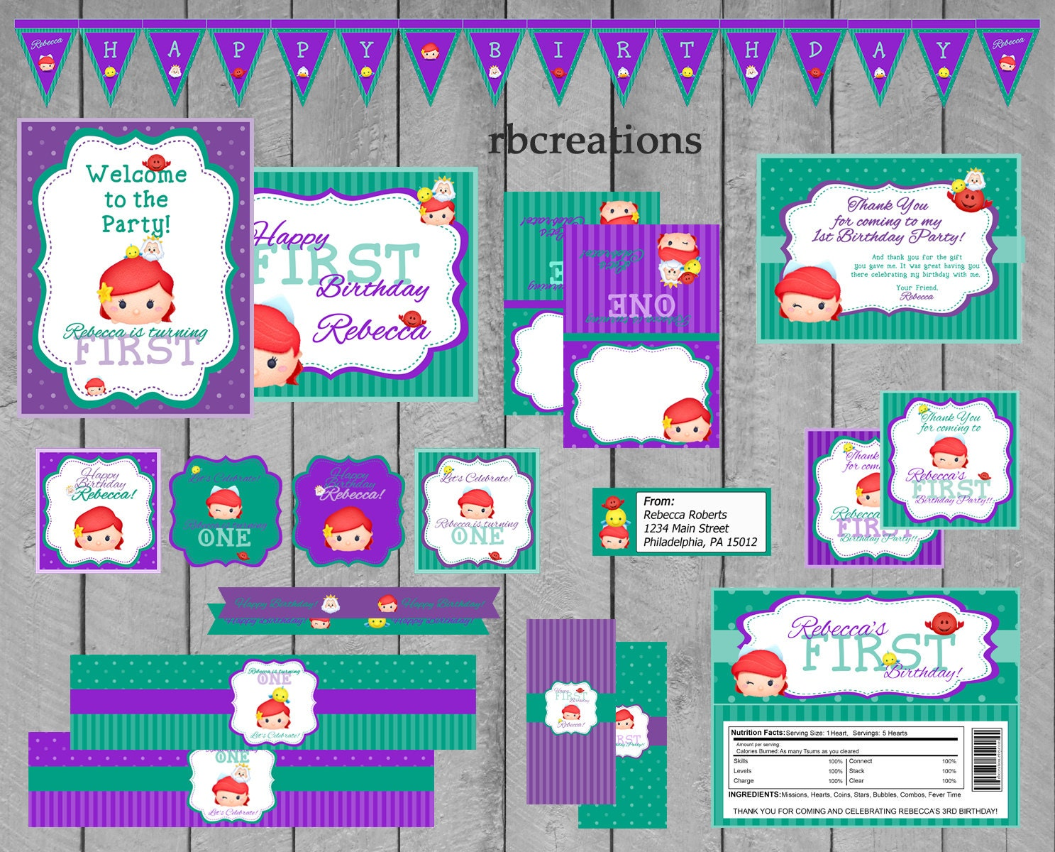 Tsum Tsum Fiesta De Cumpleaños Para Colorear Páginas Libro De: Little Mermaid Tsum Tsum Party Package Tsum Tsum Party Tsum