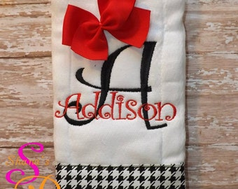 Burp Cloth, Name with Houndstooth