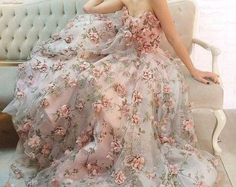 3D Organza lace fabric with Pink 3D chiffon rosette flowers appliques, fabric by yard