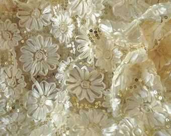 ivory bridal lace fabric with sequins for wedding gown, bridal dress