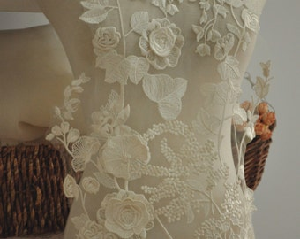 Beautiful 3D venice lace applique for bridal gown, wedding dress straps