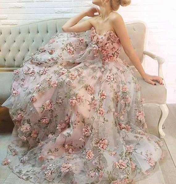 15 Luxury Wedding Gowns Under 5000: 3D Organza Lace Fabric With Pink 3D Chiffon Rosette Flowers