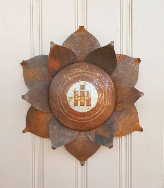 International harvester hubcap flower with raised by for International harvester wall decor