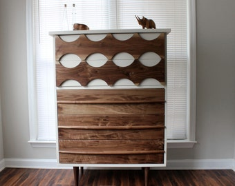 Mid-Century Inspired Ellipse Walnut Dresser by Revitalized Artistry