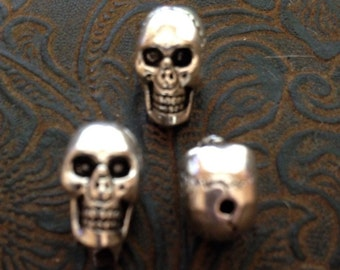 12 Pieces Skull Beads top drilled Metal Skull, metal skull beads, silver skull beads  14-14-AS