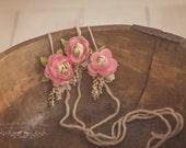 Snowberry Newborn Tieback, Photo Prop, Pink Newborn Prop, Pink Floral Tieback, Beige Tieback, Organic Headband, Pink Headband, Pink Berries