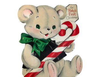 Vintage Christmas Card, 1960's Hallmark Flocked Teddy Bear Card, Baby's First Christmas, Stand-Up Christmas Card, 1960s Christmas Decoration