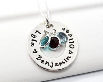 Mother Hand Stamped Necklace with Children's names and birthstones.