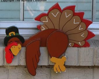 Sleepy Turkey Thanksgiving Fence/Shelf Decoration