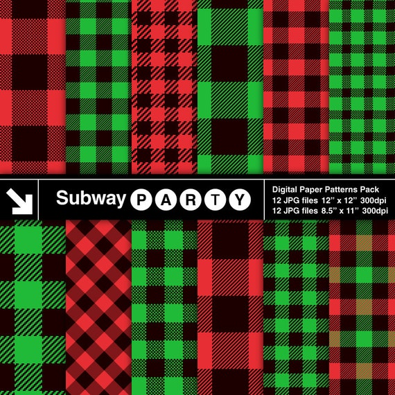 Christmas Plaid Red Green Black Lumberjack Flannel Buffalo Check
