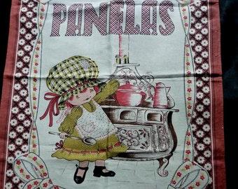 c1970s Panelas cotton tea towel Brazil ~ Brazil cotton tea towel little girl kitsch kitchen
