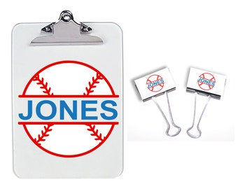 Clipboard/binder clip set for teachers, coaches, baseball,  binder clips, baseball coach, teacher appreciation