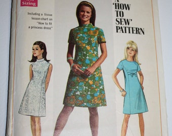 Simplicity Vintage Sewing Pattern 7459 Dress Princess Shift A-line1967