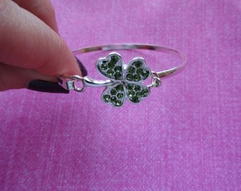 Four leaf clover green  crystal  bangle bracelet