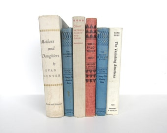 Vintage Blue And White Books, Rustic Decorative Books, Vintage Book Collection, Book Decor, Book stack