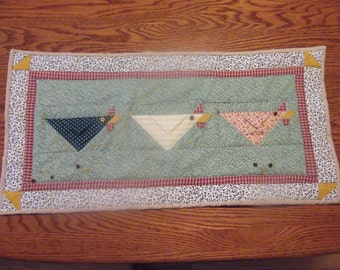 Hand Made Machine Quilted Table Runner, Quilted Table Topper, Running Chickens Design