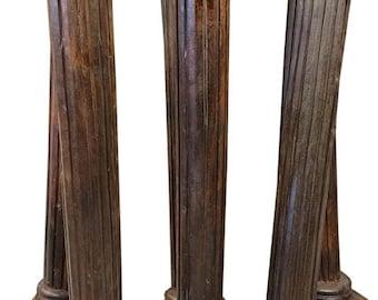 Antique Teak Wood Columns Pilasters Rare Set of Pillars Furniture 19th century Indian Architecture