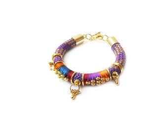 EIRA - ethnic chic rope bracelet, colorful bracelet, statement bracelet, boho chic bracelet, colorful jewelry, ethnic jewelry, rope jewelry
