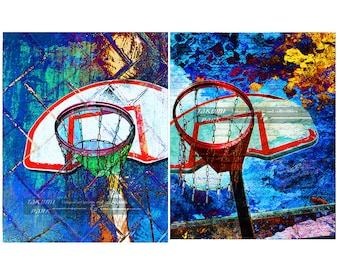 Basketball Canvas Wall Art Set, Ready To Hang Art, Colorful Artwork, Gift For Basketball Fan, Home Decor, Stretched Canvas Print, Den Art