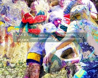 Rugby Artwork, Womens Sports, Photo Print, Modern Sports Decor, Rugby Art Print, Wall Decor, Colorful Art, Sports Poster, Athletic Art