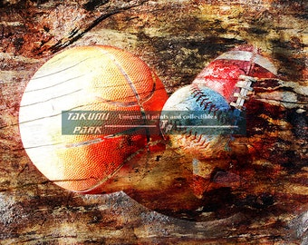 Sports Poster Print, Basketball, Baseball And Football Artwork, Gift For Sports Fan, Mancave Art, Sports Decor, Colorful Home Decor Art