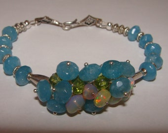 Blue Aquamarine, Ethiopian Opal, Peridot and Sterling Silver Bracelet