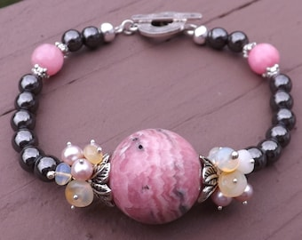 Rodochrosite, Ethiopian Opal, Freshwater Pearl and Hematite Bracelet in Tibetan and Sterling Silver