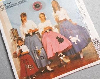 Vintage 90s McCalls 7253 for Vintage Themed Circle Full Skirts Halloween Costume Misses XS S M L  Poodle Guitar Cat Dog Elastic Waist Uncut