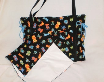 monster  diaper bag with matching changing pad