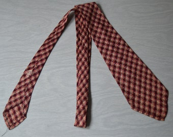 Vintage 30s/40s Hand Tailored Maroon/Peach/Cream Woven Necktie
