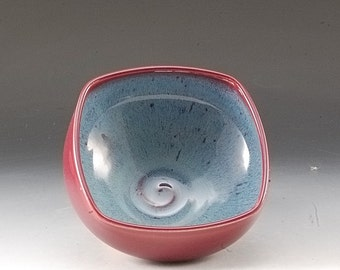 Handmade Pottery Square  Bowl Blue and Red Stoneware by Mark Hudak