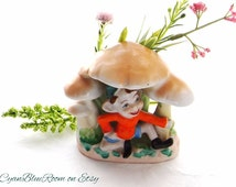 Elf or Pixie Hiding Under Mushroom Toad Stools, Ceramic Planter, Hand Painted Pottery, Made in Japan, from CyanBlueRoom on Etsy.