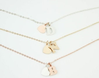 Gold Filled Letter Necklace, Letter Necklace, Letter Charm, Rose Gold Filled Letter, Sterling Silver Letter