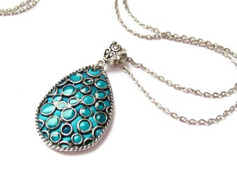 Teardrop polymer clay jewelry Polymer clay pendant turquoise necklace. Polymer clay necklace Unique polymer necklace, turquoise jewelry