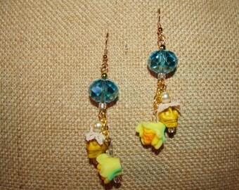 Turqouise Sugar Skull Earrings Halloween Dia De Los Muertos Handmade Jewelry