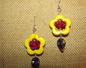 Yellow Sugar Skull Earrings Halloween Dia De Los Muertos Jewelry
