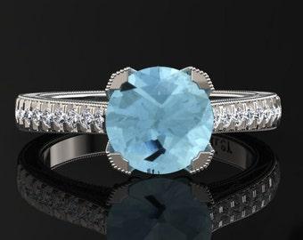 Aquamarine Engagement Ring Aquamarine Ring 14k or 18k White Gold Matching Wedding Band Available SW5AQUAW
