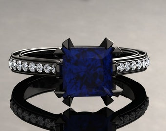 Blue Sapphire Engagement Ring Princess Cut Blue Sapphire Ring 14k or 18k Black Gold Matching Wedding Band Available SW12BUBK