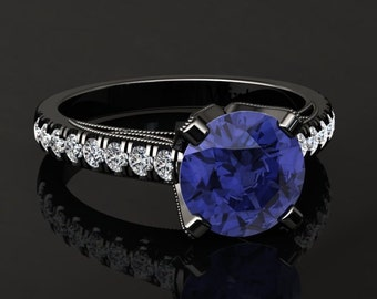 Tanzanite Engagement Ring Tanzanite Ring 14k or 18k Black Gold Matching Wedding Band Available W4TANZBK