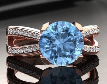 Aquamarine Engagement Ring Aquamarine Ring 14k or 18k Rose Gold SW7AQUAR