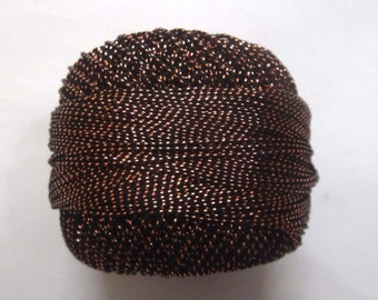 BLACK With COPPER LUREX - 20 gm Lurex Cotton Yarn / Thread for Crochet Embroidery Knitting