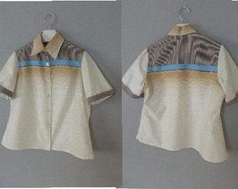 60s degrade shirt. 3XL size. Retro womens cotton shortsleeved top. In a very good vintage condition.