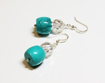 Turquoise Drums and Mystic Quartz Earrings on Sterling Silver Earwires - Turquoise Birthstone for December